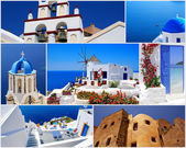 Collage of Santorini island, Greece travel images — Stock Photo