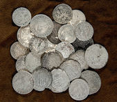 The old silver coins — Stock Photo