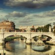 Postcard of Rome, Castle St. Angelo, St. Angelo bridge - Stock Photo