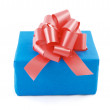 Blue box with red bow — Stock Photo