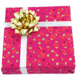 Gift: Pink box with golden bow — Stock Photo