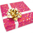Stock Photo: Gift: Pink box with golden bow
