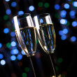 Champagne glasses with decoration — Stock Photo