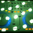 Stock Photo: Modern dj equipment and party lights