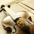 Antique violin with fiddlestick — Stock Photo #10232184