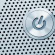 Silver power button - Stock Photo