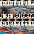 Telephone switchboard panel with wires — Stock Photo