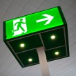 Green emergency exit sign — Stock Photo #10236998