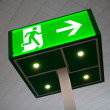 Green emergency exit sign — Stock Photo #10237000