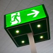 Stock Photo: Green emergency exit sign