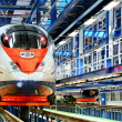 Stock Photo: Fast train in the service depot