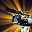 Video camera in action — Stock Photo