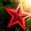 Stock Photo: Christmas-tree decoration - red star with glare