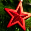 Christmas-tree decoration - red star — Stock Photo