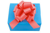 Gift: Blue box with red bow — Stock Photo