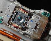 Laser lens of dvd drive macro — Stock Photo