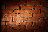 Aged brick wall illuminated with spotlight — Stockfoto
