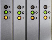 Panel con entrada, salida, indicadores de falla — Foto de Stock