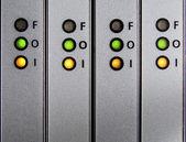 Panel med indata, utdata, misslyckande indikatorer — Stockfoto