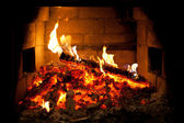 Burning fire in the fireplace — Stok fotoğraf