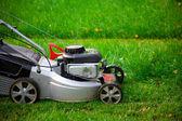 芝生芝刈り機のクローズ アップ — ストック写真