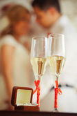 Wedding champagne glasses — Stock Photo
