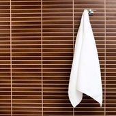 Towel hanging on the hook — Stock Photo
