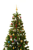Christmas-tree with multitude of decorations isolated on white — Stock Photo