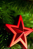 Christmas-tree decoration - red star — ストック写真