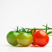 Green and red cherry tomatoes with copy-space — Stock Photo