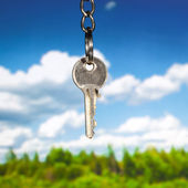 Key against nature background — Stock Photo