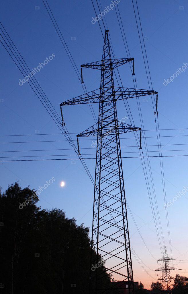 日落时输电线路铁塔 — 图库照片 #10233135