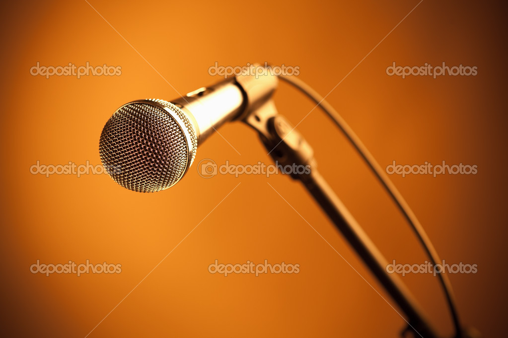 Gold microphone — Stock Photo #10238560