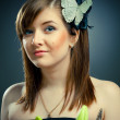 Beautiful girl and butterfly — Stock Photo