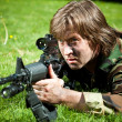 Soldier aiming the rifle — Stock Photo #10241853