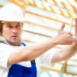 Builder looking at the construction project - Stock Photo