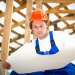 Builder looking at the construction plan — Foto Stock