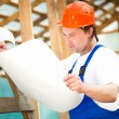 Stock Photo: Builder looking at construction plan