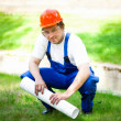 Professional builder outdoors — Stockfoto