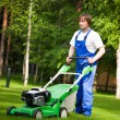 Lawn mover man working on the backyard — Stock Photo #10242049