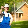 Builder manager delivering the house — Foto Stock