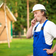 Smoking builder — Stock Photo