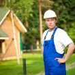 Stock Photo: Smoking building manager