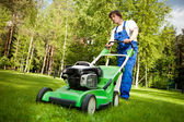 Hombre de mover césped trabajando en el patio trasero — Foto de Stock