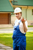 Builder manager holding the keys — Stok fotoğraf