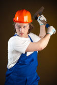 Worker holding a hammer — Stock Photo