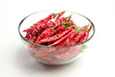 Red chili peppers isolated on white — Stock Photo