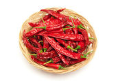 Chili peppers on the wicker dish — Stock Photo