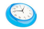 Blue office clock — Stock Photo