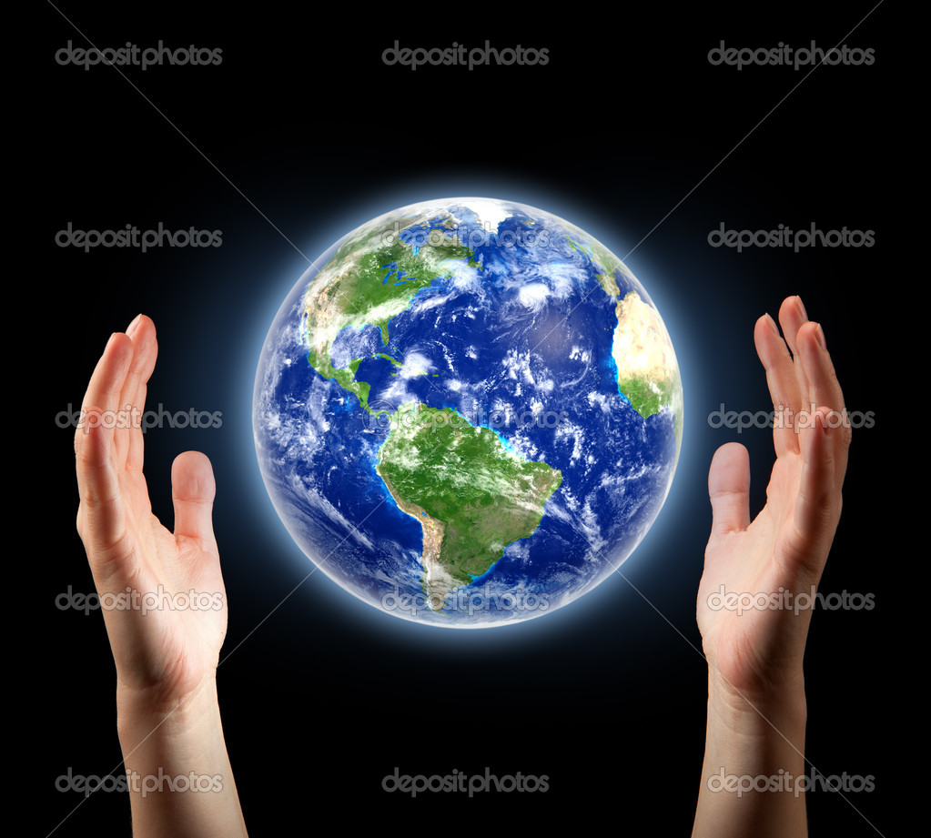 Hands surrounding planet Earth — Stock Photo #10242807